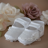 white satin baby christening bootie