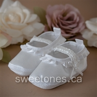 white satin with ruffles baby christening bootie