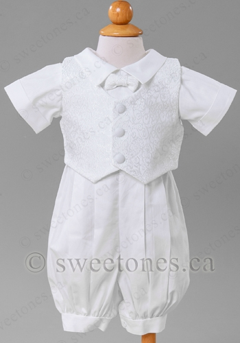 b5d85ff30d57 Boy poly cotton romper with vest Christening outfit