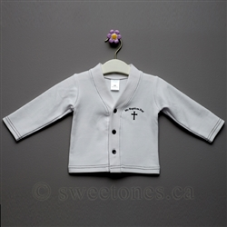Boys white Baptism cotton cardigan
