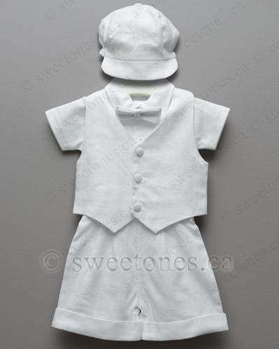 7f2cab4531f Boys linen vest suit Baptism set. Baby boy s ...