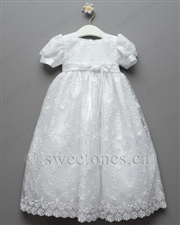 Christening gown with embroidered tulle
