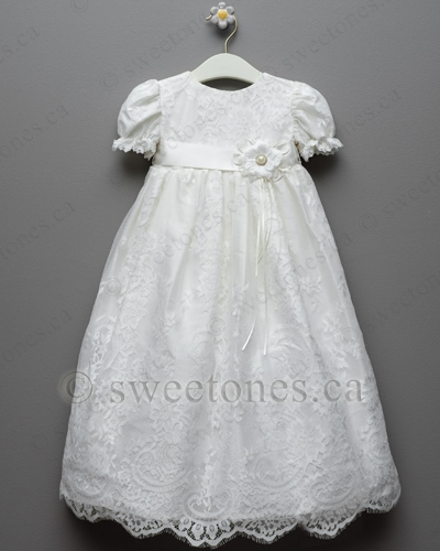 Silk And Lace Christening Gown With Headband Style Bg Isabella