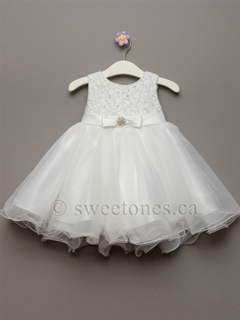 Girls lace and tulle dress – Style BG-Kaylee-Off White