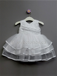 Girls Baptism Three Tiered Tulle Dress – Style BG-Rosemary-White
