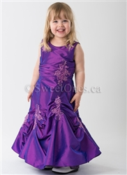 Purple taffeta flower girl dress