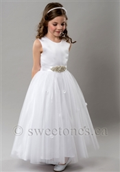 White tulle dress with sparkle rhinestone belt – Style FC-Avery