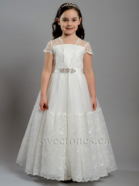Girls Lace Floral Tulle Dress Style Fc Flora