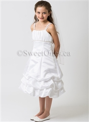 SALE-White satin bubble-tier formal dress– Style FG-Sania