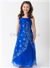 blue organza flower girl formal dress