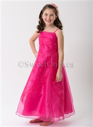 fuchsia organza flower girl formal dress
