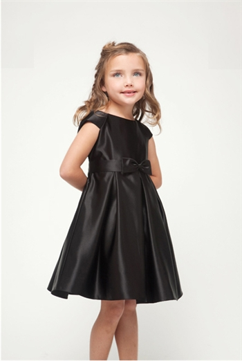 Black satin girl formal dress