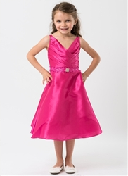 pink taffeta flower girl dress