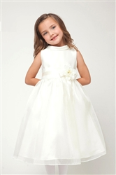 white satin and organza overlay formal dress