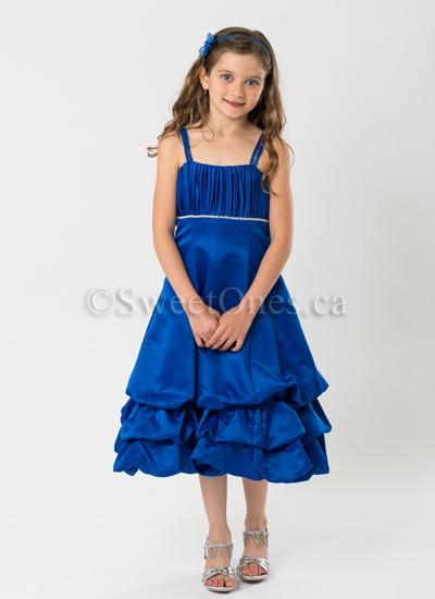 check out large discount wholesale online Royal blue satin bubble-tier party dress– Style FG-027