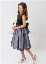 Black satin girl party dress