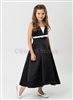 Black satin A-line party dress