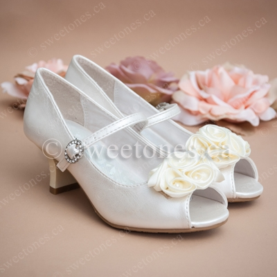 Flower girl shoes first communion shoes children formal wear shoes girls heeled shoe with flowers mightylinksfo Choice Image