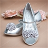 Silver flowe girl shoes