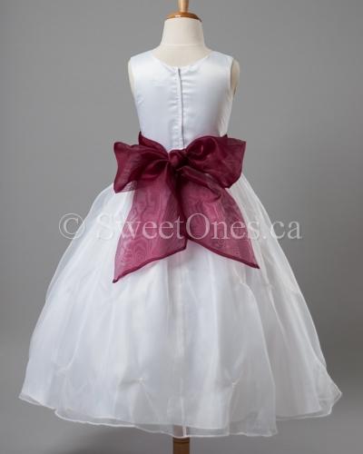 a5ef4b995a Flower girl dress with burgundy sash