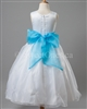 Flower girl Turquoise Blue sash