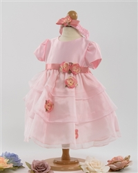 Pink satin and organza overlay baby dress with headband