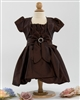 Baby brown taffeta party dress with bolero
