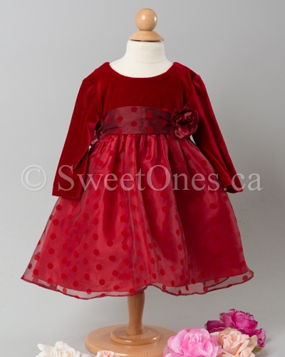 Toddler Christmas Dress.Infant Red Polka Dot Stretch Velvet Party Dress With Hat Style T 009