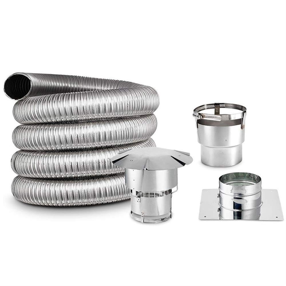 6 inch oval chimney liner kit with chimney cap top plate and