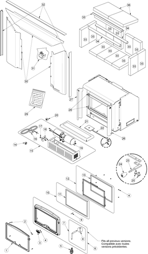 OsburnWoodStoves.com - Every part for the Osburn 1100 insert. Select the Osburn 1100 part from the drop down menu after looking at the parts diagram.