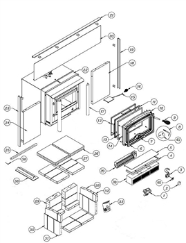 OsburnWoodStoves.com - Every part for the Osburn 1600 Insert. Select the Osburn 1600 part from the drop down menu after looking at the parts diagram.