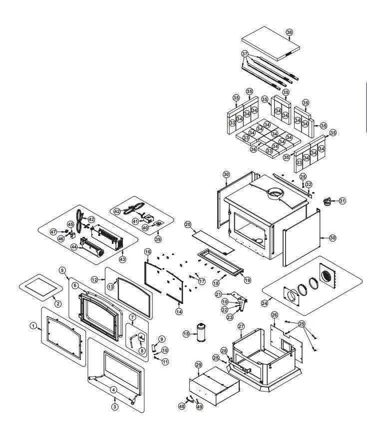 Osburn 3500 Wood Stove Parts Diagram