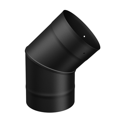 "SP00090 6"" Single Wall Black 45 Degree Elbow"