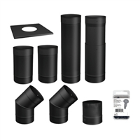 SP00360 TO THE WALL 6'' BLACK STOVE PIPE KIT