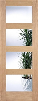 4L Clear Glass Oak Interior Door