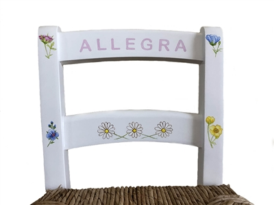 Hand Painted Wild Flower Rush Seat Chair