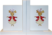 Hand Painted Red Mouse Bookends