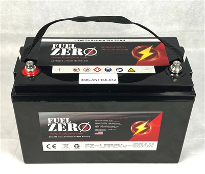 FuelZero 24v 50AH Deep Cycle LIFEPO4 Battery
