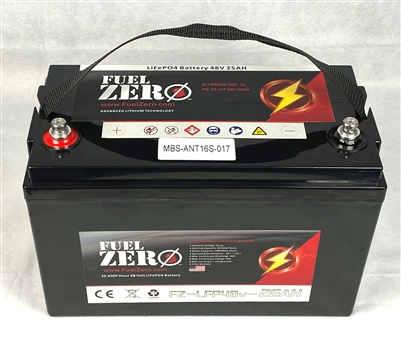 FuelZero 48v 25 Amp Hour LIFEPO4 Lithium Ion Battery