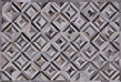 Hand Stitched Natural Cowhide Patchwork Area Rug