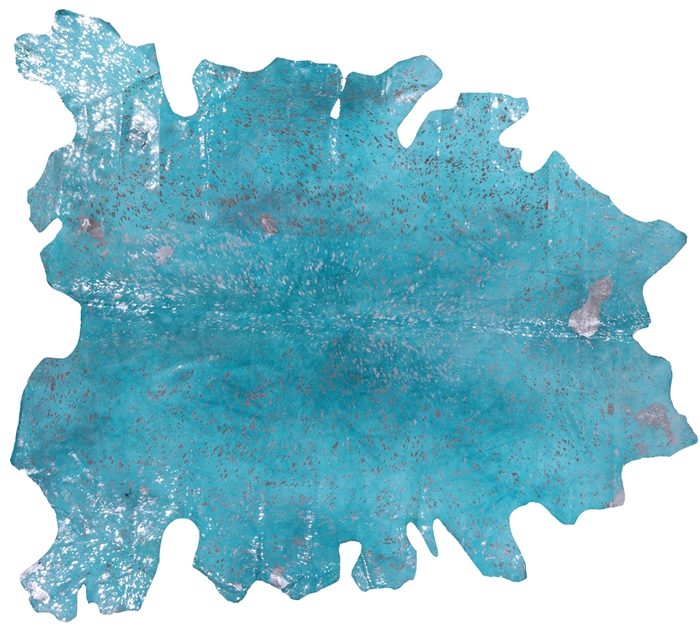 Overdyed Metallic Silver on Turquoise Cowhide Hairhide Rug
