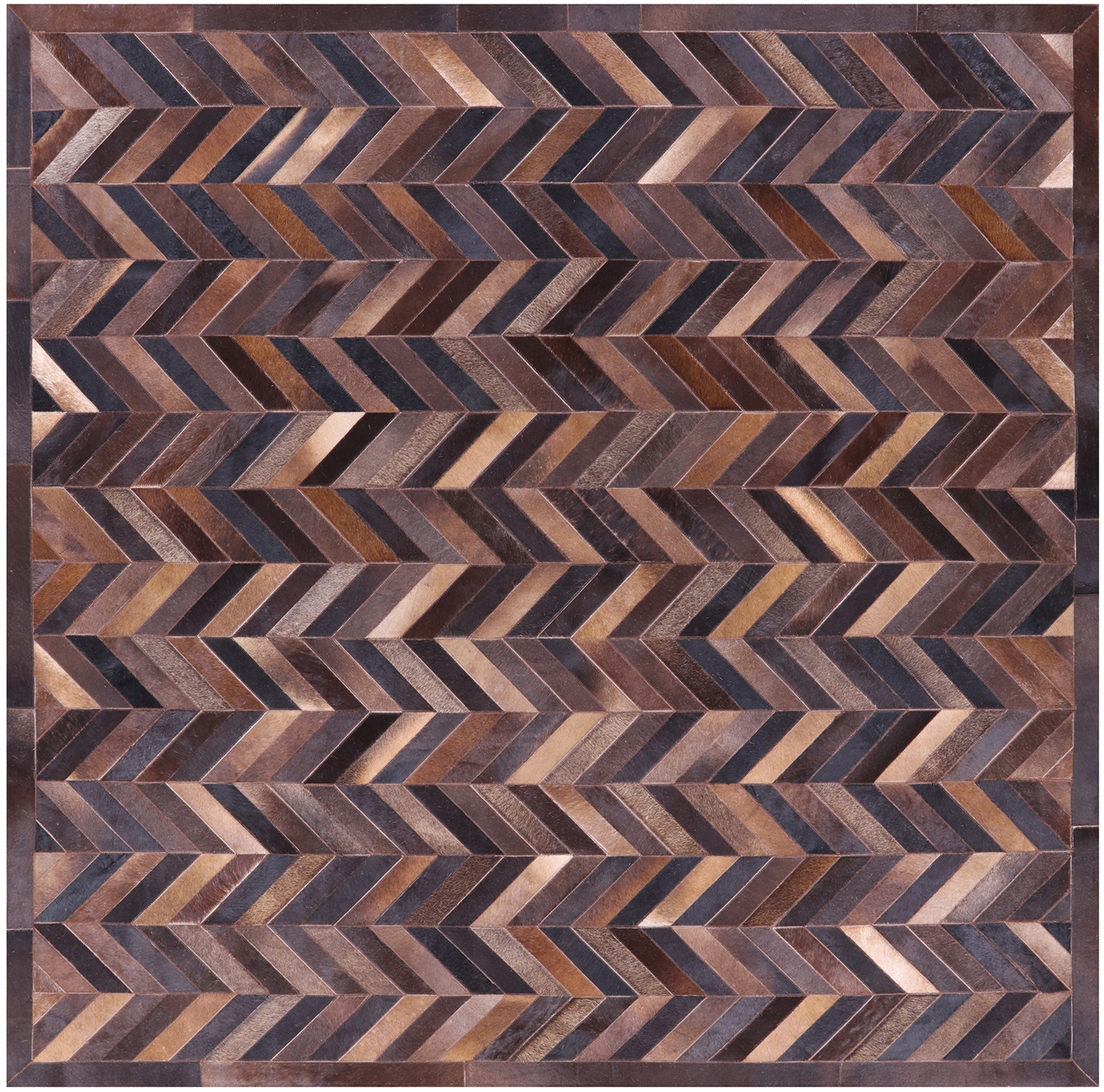 7 Square Hand Stitched Natural Cowhide Rug