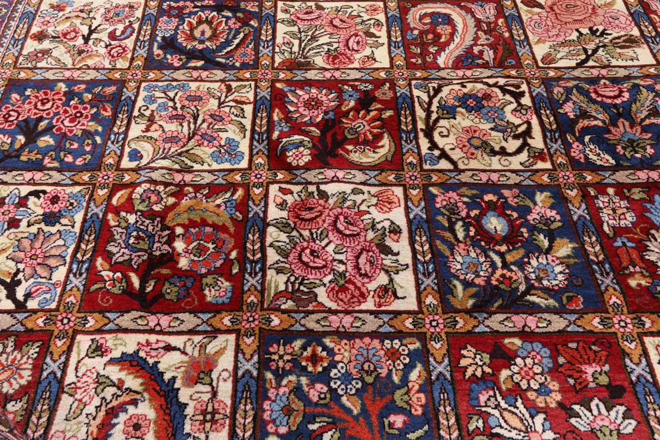New Hand Knotted Authentic Persian Bakhtiari 10 X14 Ivory