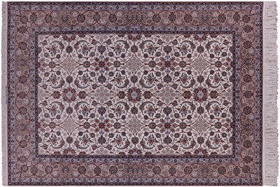 Wool & Silk Signed Isfahan Persian Rug