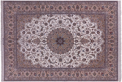 Authentic Persian Isfahan Wool & Silk Rug