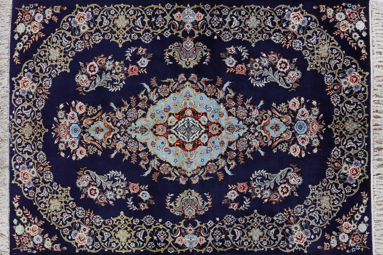 hand knotted signed isfahan persian wool & silk rug