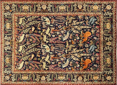 New King of The Jungle Design Authentic Hand Knotted Persian Rug