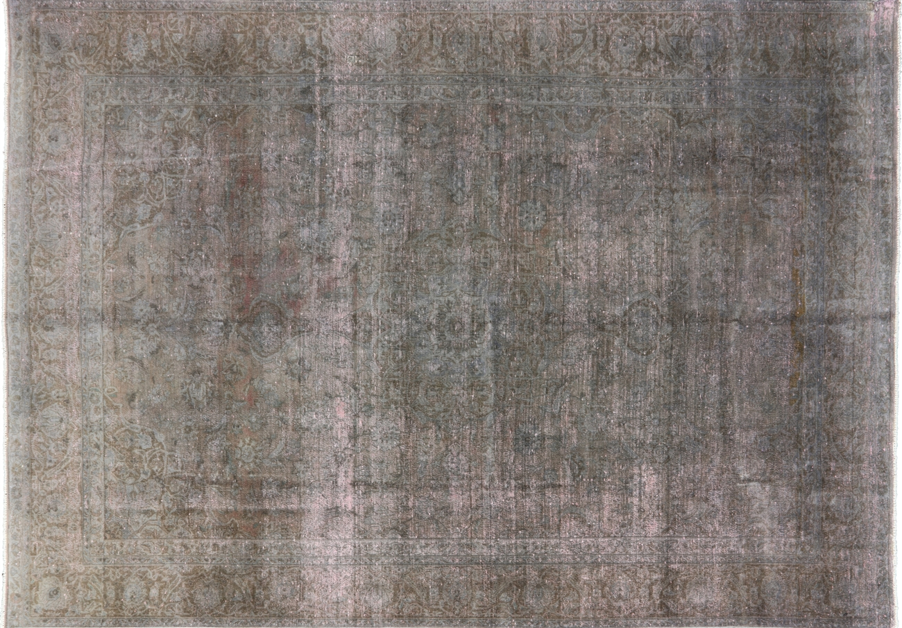 Gray Pink Overdyed Persian Oriental Rug 9u0027 X 13u0027 Hand Knotted Wool Rug H3036