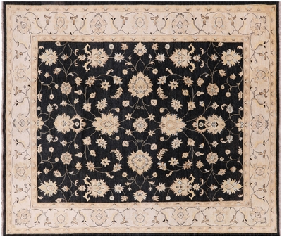 Black Floral Chobi Authentic Pakistani Rug