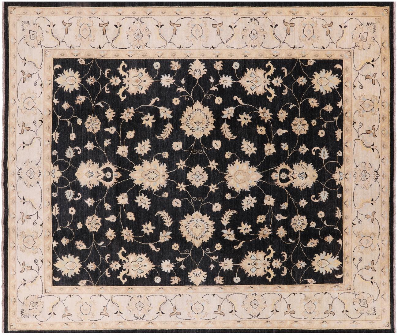 Black Floral Chobi Authentic Pakistani Rug